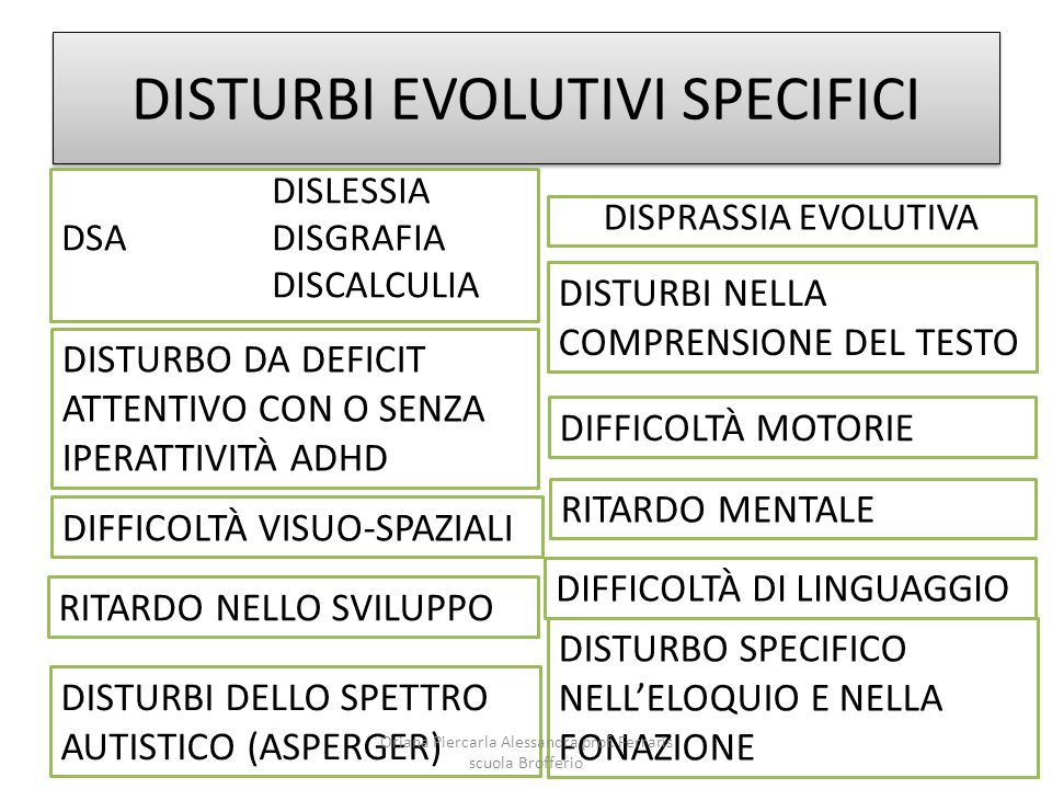 DISTURBI EVOLUTIVI SPECIFICI DISLESSIA DSADISGRAFIA DISCALCULIA DISTURBO DA DEFICIT ATTENTIVO CON O SENZA IPERATTIVITÀ ADHD DIFFICOLTÀ VISUO-SPAZIALI