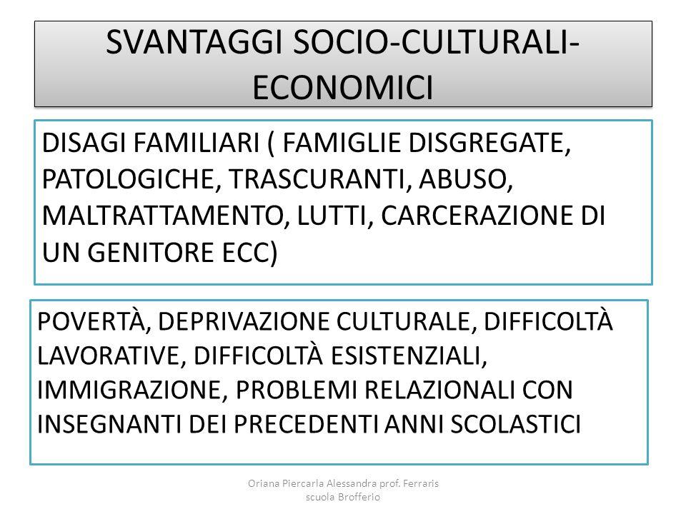 SVANTAGGI SOCIO-CULTURALI- ECONOMICI DISAGI FAMILIARI ( FAMIGLIE DISGREGATE, PATOLOGICHE, TRASCURANTI, ABUSO, MALTRATTAMENTO, LUTTI, CARCERAZIONE DI U