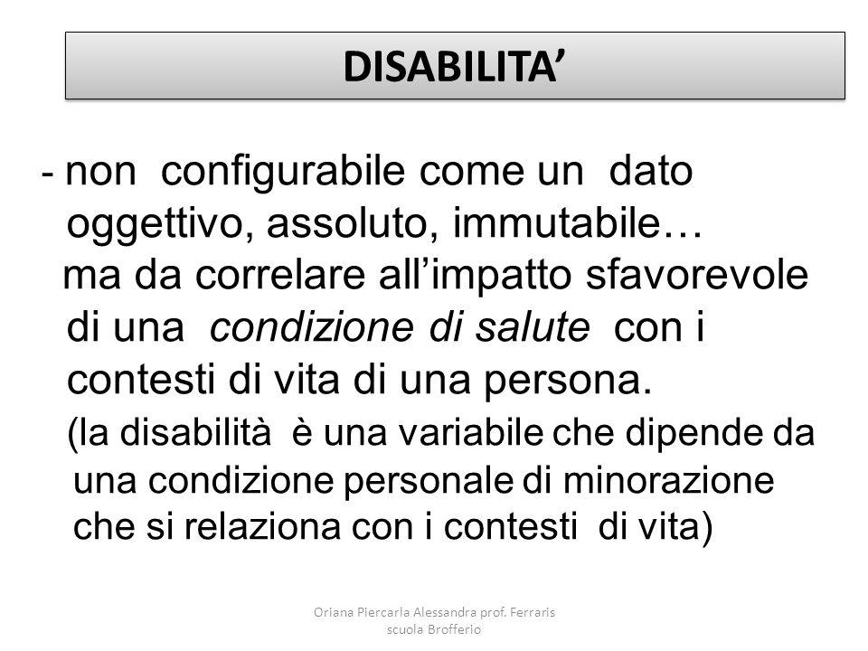 - non configurabile come un dato oggettivo, assoluto, immutabile… ma da correlare all'impatto sfavorevole di una condizione di salute con i contesti d