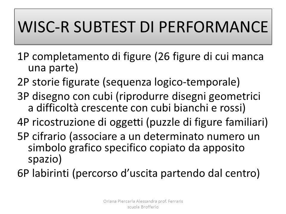 WISC-R SUBTEST DI PERFORMANCE 1P completamento di figure (26 figure di cui manca una parte) 2P storie figurate (sequenza logico-temporale) 3P disegno