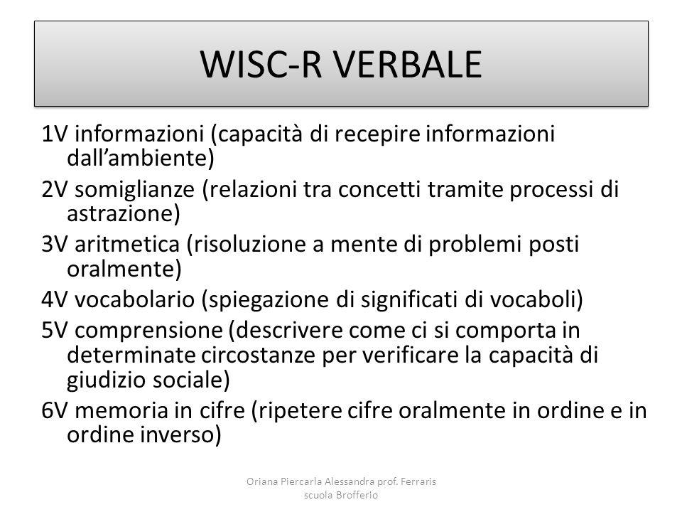 WISC-R VERBALE 1V informazioni (capacità di recepire informazioni dall'ambiente) 2V somiglianze (relazioni tra concetti tramite processi di astrazione