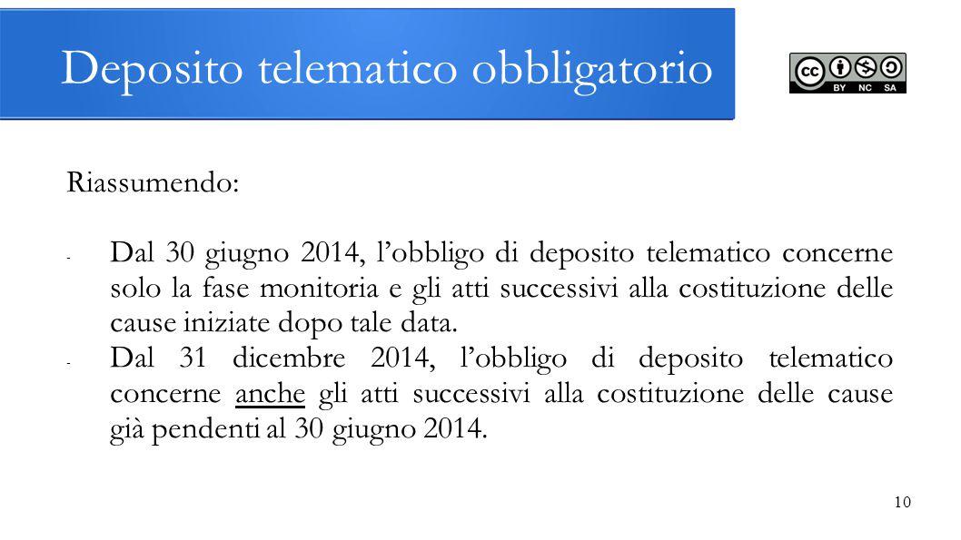 10 Deposito telematico obbligatorio Riassumendo: - Dal 30 giugno 2014, l'obbligo di deposito telematico concerne solo la fase monitoria e gli atti suc