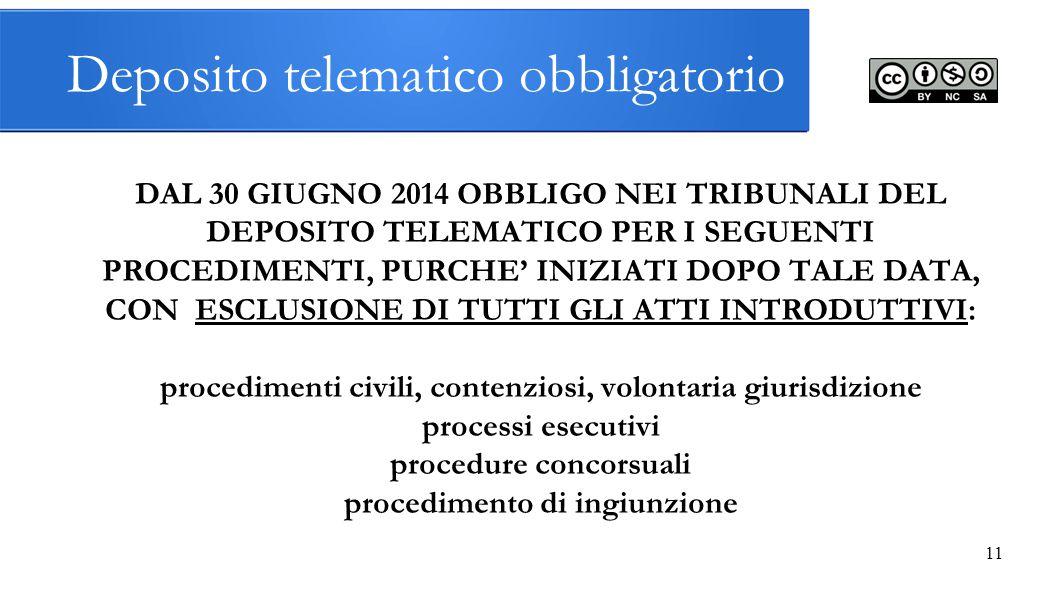 11 Deposito telematico obbligatorio DAL 30 GIUGNO 2014 OBBLIGO NEI TRIBUNALI DEL DEPOSITO TELEMATICO PER I SEGUENTI PROCEDIMENTI, PURCHE' INIZIATI DOP