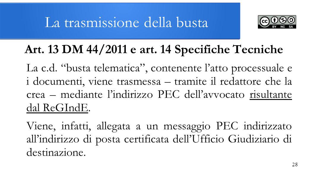 """28 La trasmissione della busta Art. 13 DM 44/2011 e art. 14 Specifiche Tecniche La c.d. """"busta telematica"""", contenente l'atto processuale e i document"""