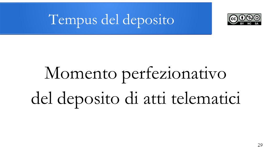 29 Tempus del deposito Momento perfezionativo del deposito di atti telematici