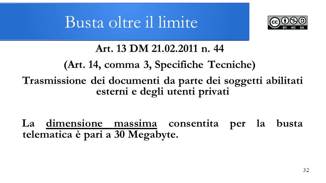 Busta oltre il limite Art. 13 DM 21.02.2011 n. 44 (Art. 14, comma 3, Specifiche Tecniche) Trasmissione dei documenti da parte dei soggetti abilitati e