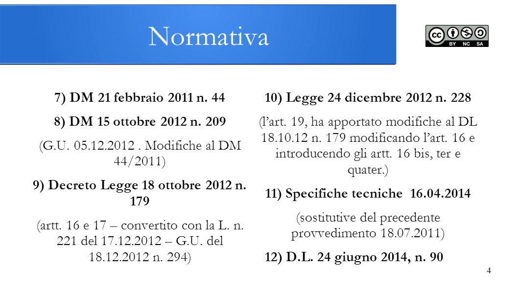 4 7) DM 21 febbraio 2011 n. 44 8) DM 15 ottobre 2012 n. 209 (G.U. 05.12.2012. Modifiche al DM 44/2011) 9) Decreto Legge 18 ottobre 2012 n. 179 (artt.