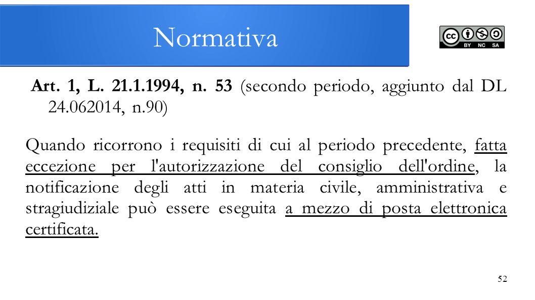 52 Art. 1, L. 21.1.1994, n. 53 (secondo periodo, aggiunto dal DL 24.062014, n.90) Quando ricorrono i requisiti di cui al periodo precedente, fatta ecc