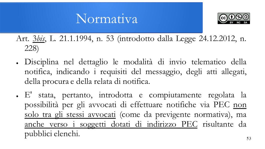 53 Normativa Art. 3bis, L. 21.1.1994, n. 53 (introdotto dalla Legge 24.12.2012, n. 228) ● Disciplina nel dettaglio le modalità di invio telematico del