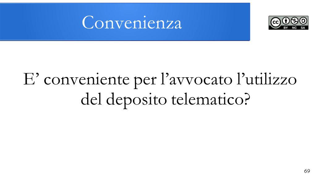 Convenienza E' conveniente per l'avvocato l'utilizzo del deposito telematico? 69