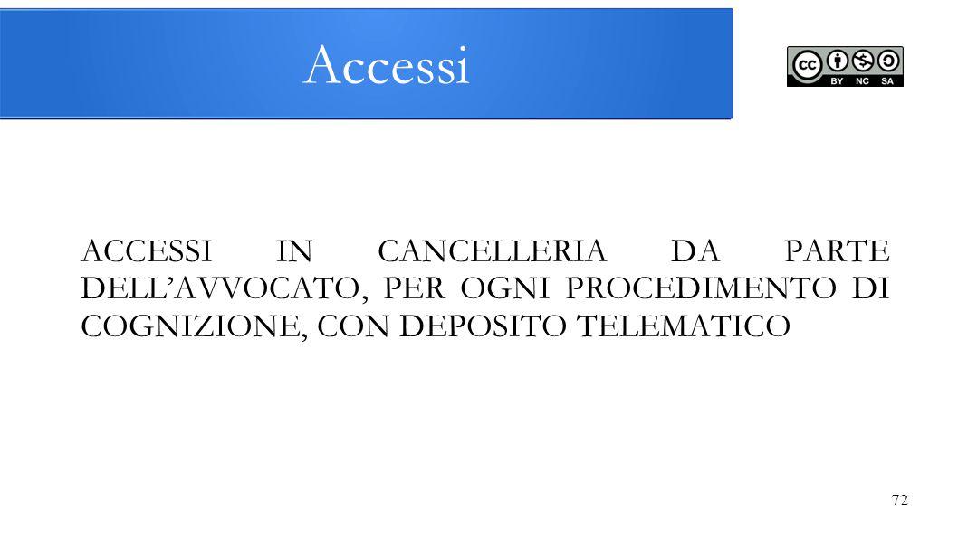 Accessi ACCESSI IN CANCELLERIA DA PARTE DELL'AVVOCATO, PER OGNI PROCEDIMENTO DI COGNIZIONE, CON DEPOSITO TELEMATICO 72
