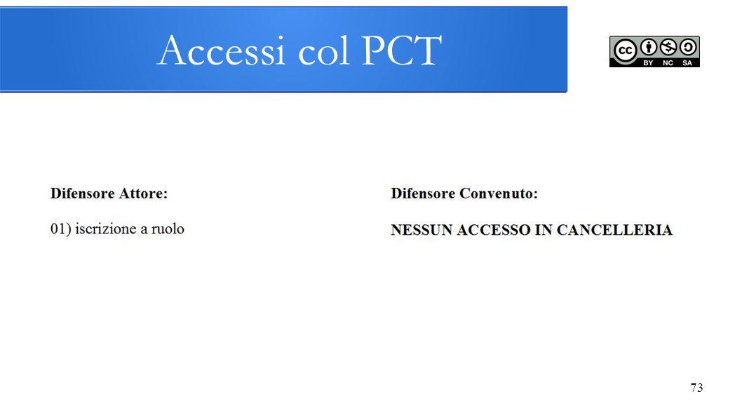 Accessi col PCT 73