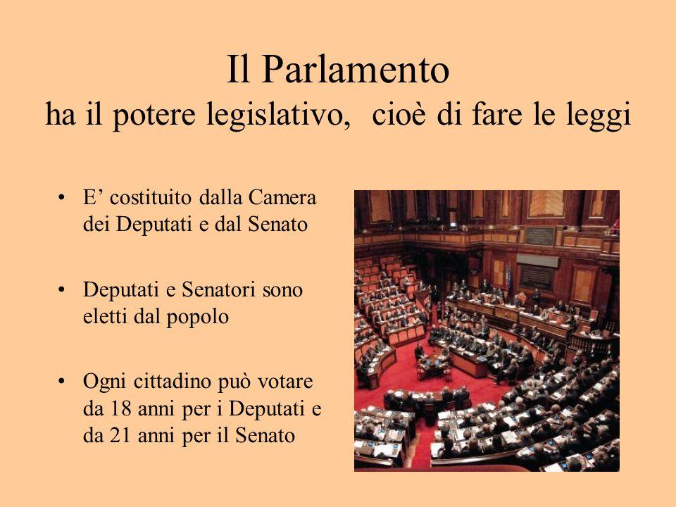 Il Parlamento ha il potere legislativo, cioè di fare le leggi E' costituito dalla Camera dei Deputati e dal Senato Deputati e Senatori sono eletti dal popolo Ogni cittadino può votare da 18 anni per i Deputati e da 21 anni per il Senato