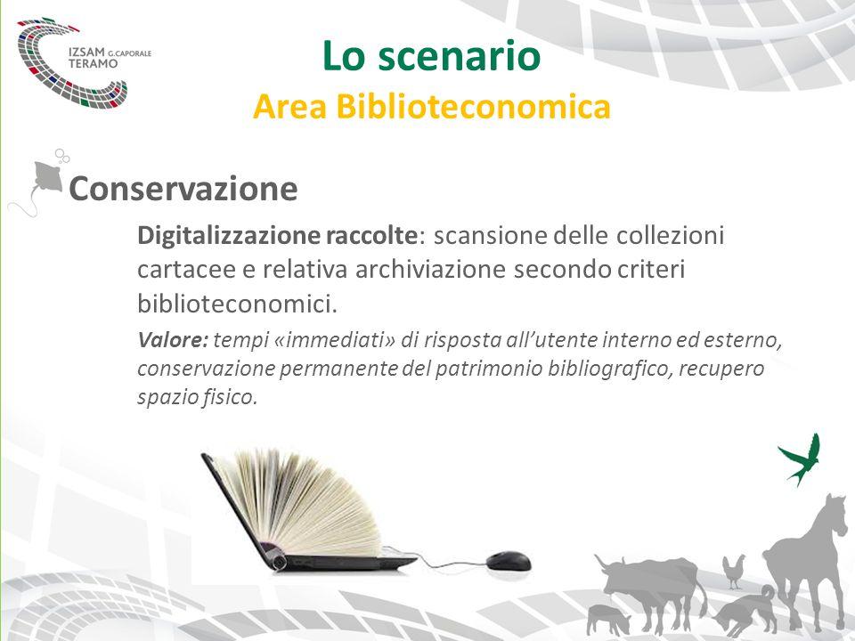 Lo scenario Area Biblioteconomica Conservazione Digitalizzazione raccolte: scansione delle collezioni cartacee e relativa archiviazione secondo criter