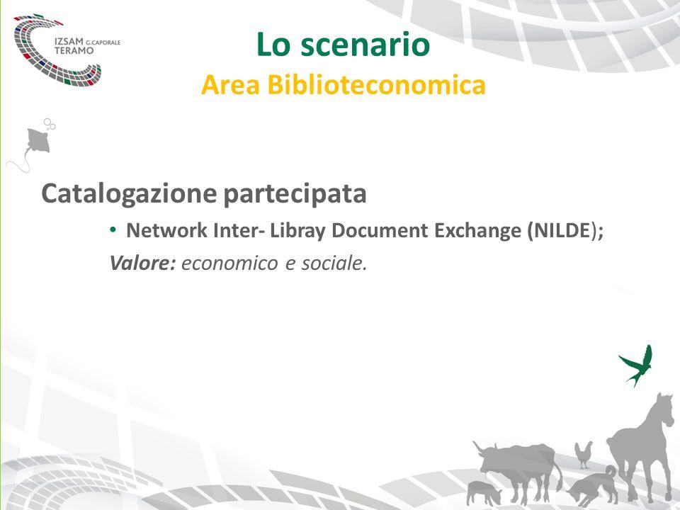 Lo scenario Area Biblioteconomica Catalogazione partecipata Network Inter- Libray Document Exchange (NILDE); Valore: economico e sociale.
