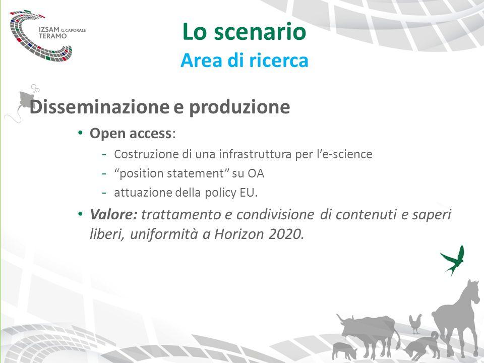 """Lo scenario Area di ricerca Disseminazione e produzione Open access: - Costruzione di una infrastruttura per l'e-science - """"position statement"""" su OA"""