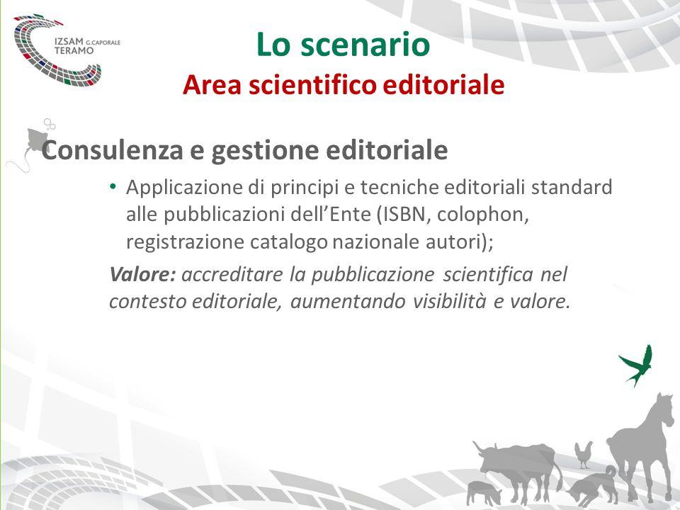Lo scenario Area scientifico editoriale Consulenza e gestione editoriale Applicazione di principi e tecniche editoriali standard alle pubblicazioni de