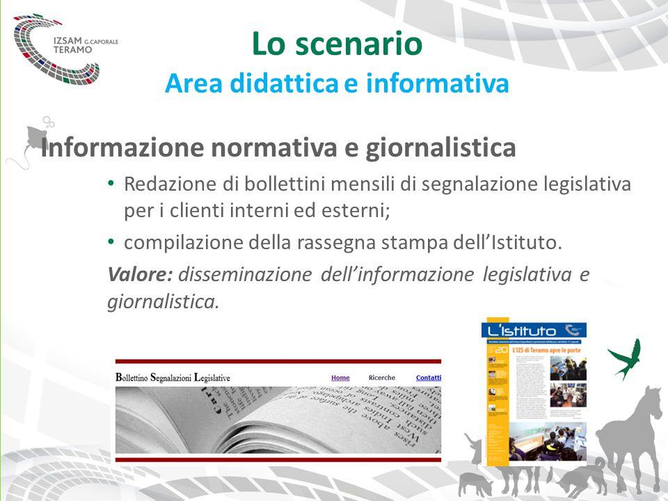Lo scenario Area didattica e informativa Informazione normativa e giornalistica Redazione di bollettini mensili di segnalazione legislativa per i clie