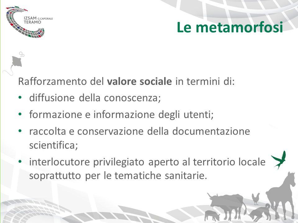 Le metamorfosi Rafforzamento del valore sociale in termini di: diffusione della conoscenza; formazione e informazione degli utenti; raccolta e conserv