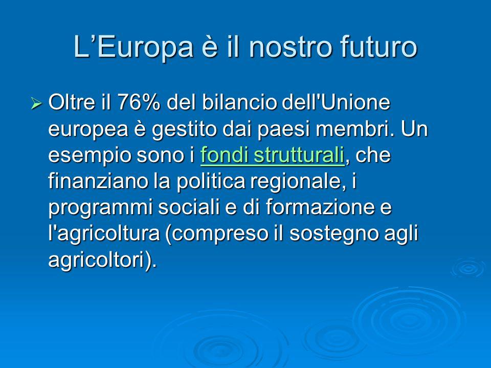 L'Europa è il nostro futuro  Oltre il 76% del bilancio dell Unione europea è gestito dai paesi membri.