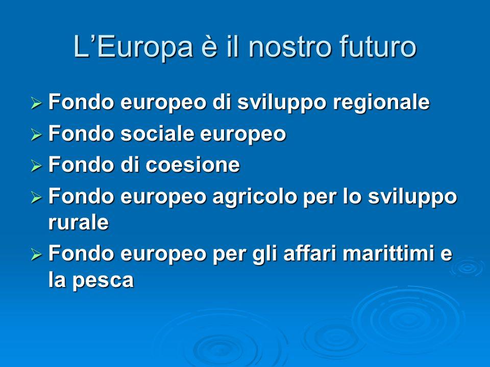 L'Europa è il nostro futuro  Fondo europeo di sviluppo regionale  Fondo sociale europeo  Fondo di coesione  Fondo europeo agricolo per lo sviluppo rurale  Fondo europeo per gli affari marittimi e la pesca