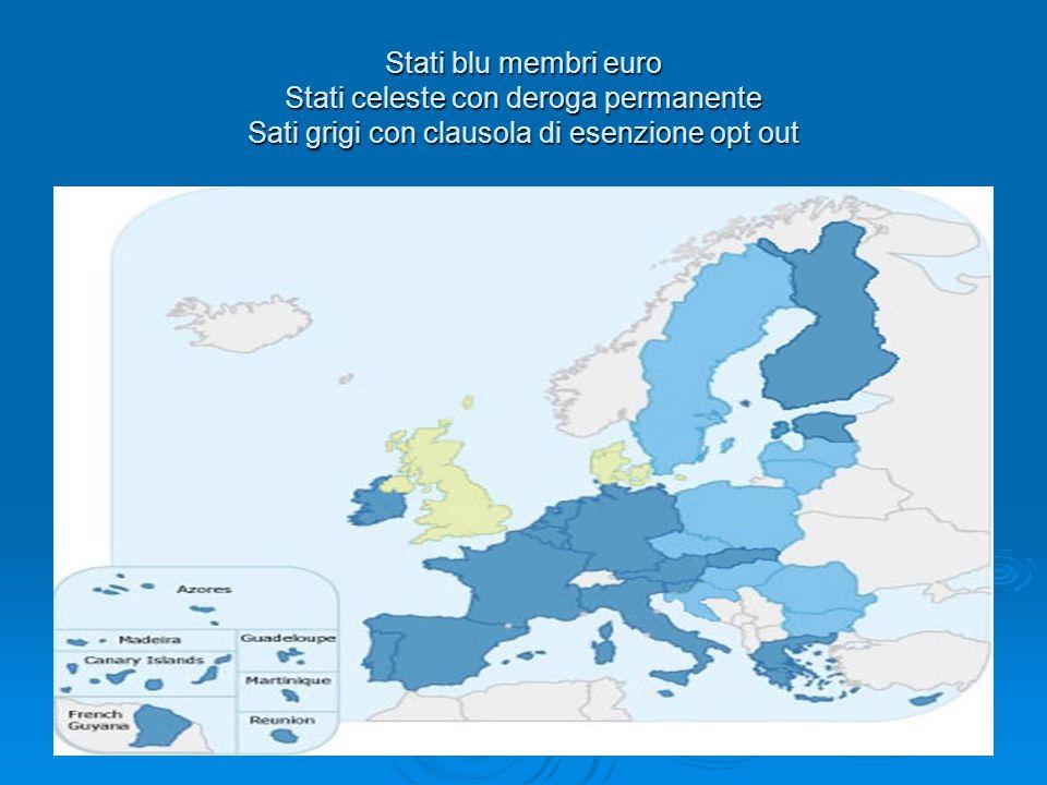 Stati blu membri euro Stati celeste con deroga permanente Sati grigi con clausola di esenzione opt out