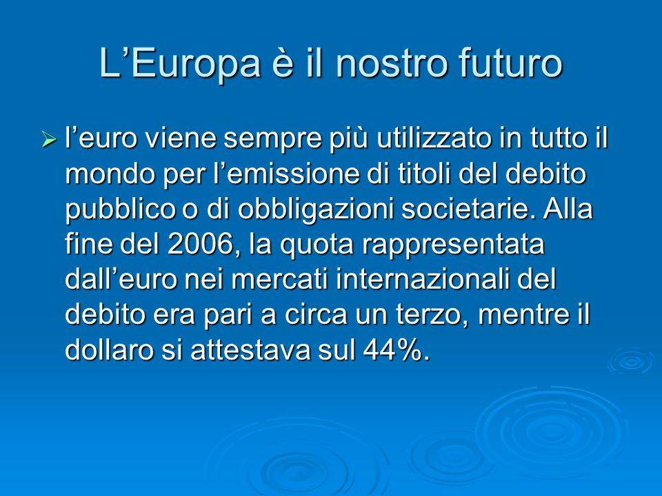 L'Europa è il nostro futuro  l'euro viene sempre più utilizzato in tutto il mondo per l'emissione di titoli del debito pubblico o di obbligazioni societarie.