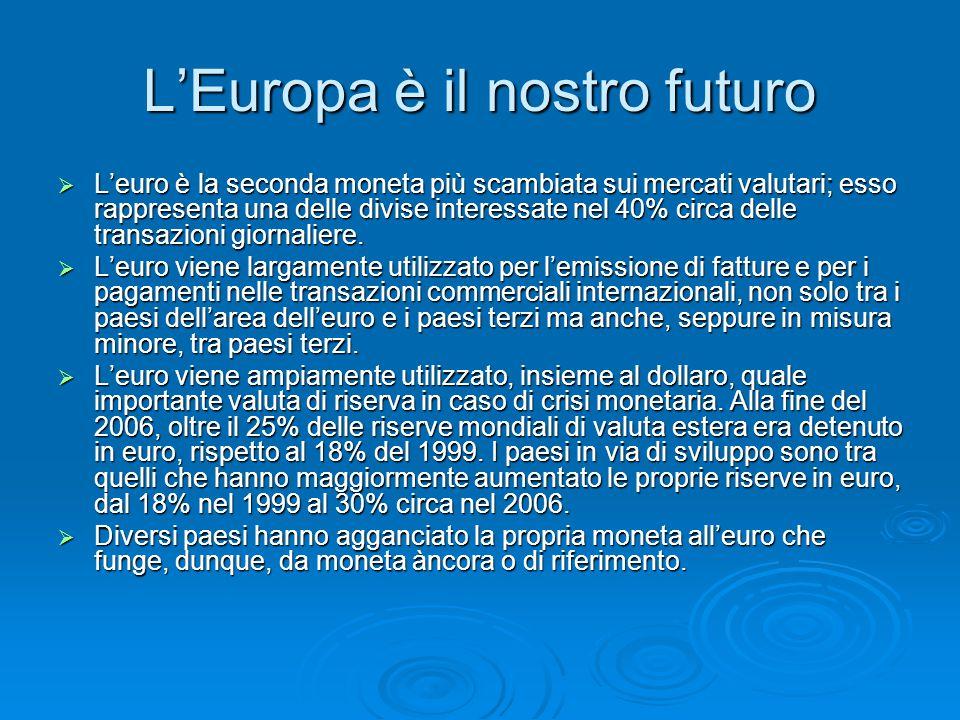 L'Europa è il nostro futuro  L'euro è la seconda moneta più scambiata sui mercati valutari; esso rappresenta una delle divise interessate nel 40% circa delle transazioni giornaliere.