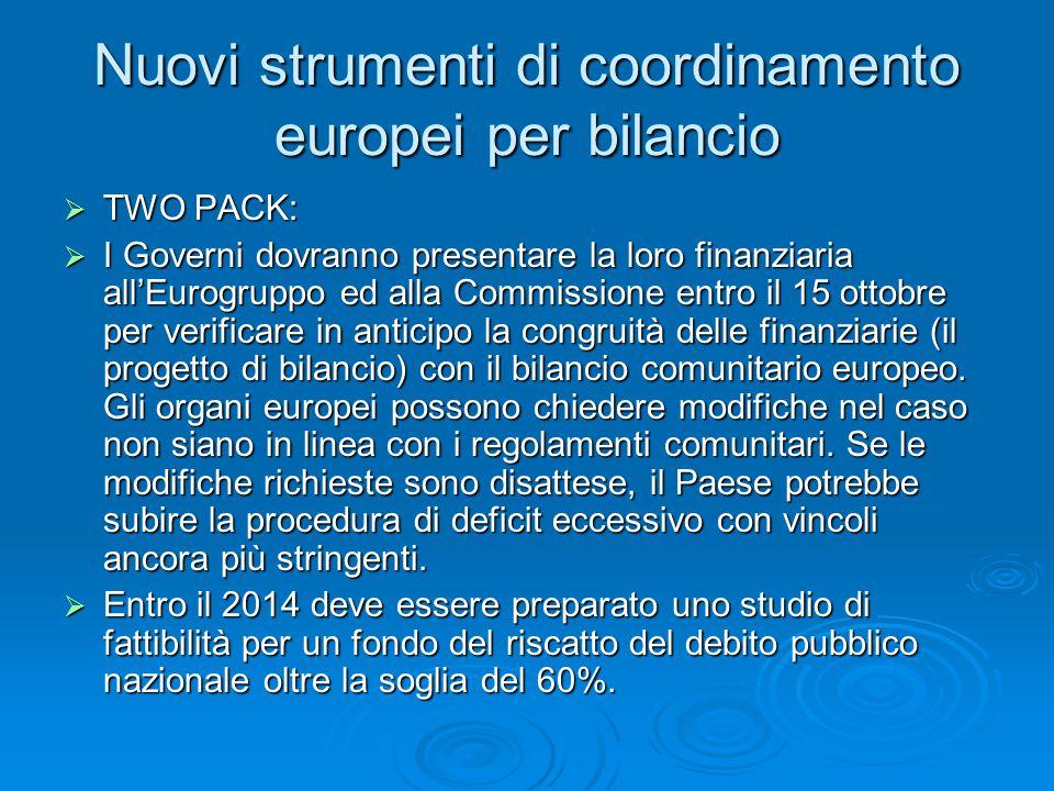 Nuovi strumenti di coordinamento europei per bilancio  TWO PACK:  I Governi dovranno presentare la loro finanziaria all'Eurogruppo ed alla Commissione entro il 15 ottobre per verificare in anticipo la congruità delle finanziarie (il progetto di bilancio) con il bilancio comunitario europeo.