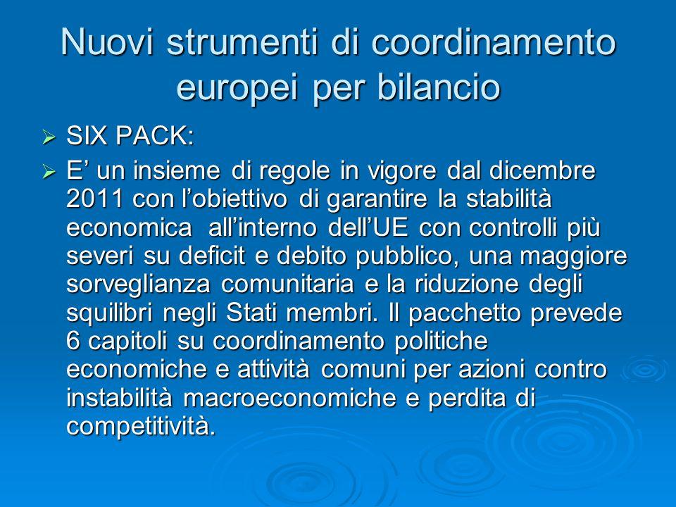 Nuovi strumenti di coordinamento europei per bilancio  SIX PACK:  E' un insieme di regole in vigore dal dicembre 2011 con l'obiettivo di garantire la stabilità economica all'interno dell'UE con controlli più severi su deficit e debito pubblico, una maggiore sorveglianza comunitaria e la riduzione degli squilibri negli Stati membri.