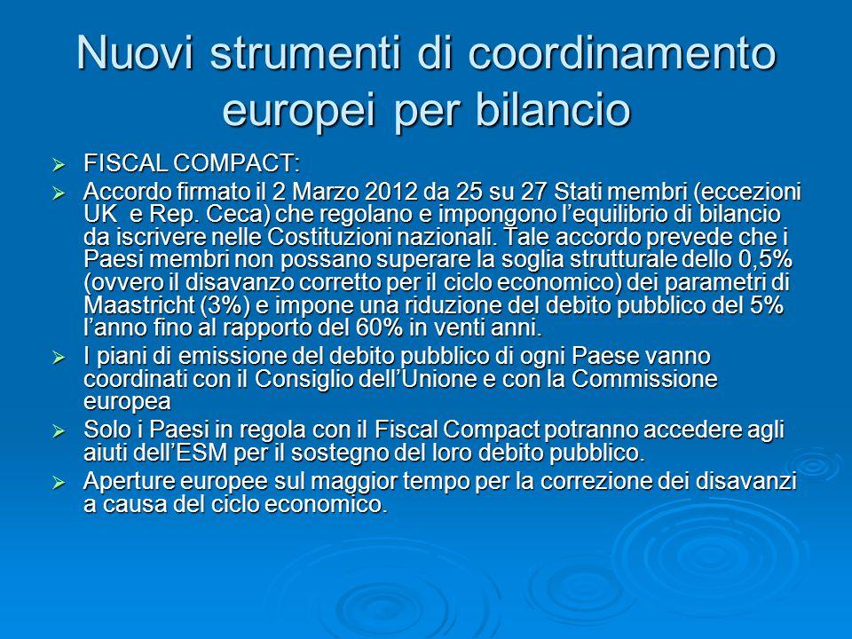 Nuovi strumenti di coordinamento europei per bilancio  FISCAL COMPACT:  Accordo firmato il 2 Marzo 2012 da 25 su 27 Stati membri (eccezioni UK e Rep.