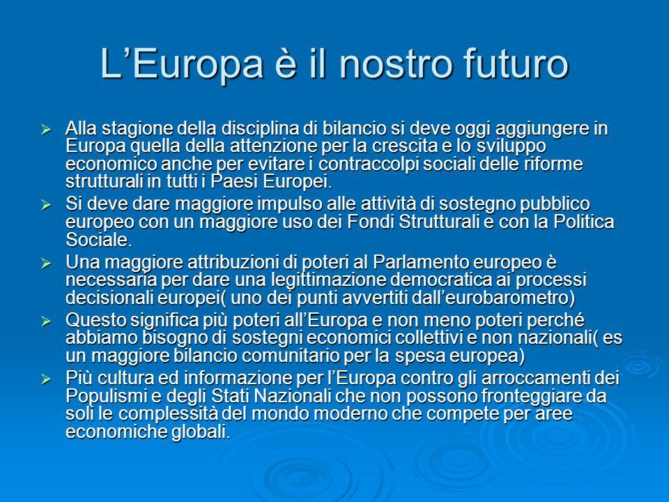 L'Europa è il nostro futuro  Alla stagione della disciplina di bilancio si deve oggi aggiungere in Europa quella della attenzione per la crescita e lo sviluppo economico anche per evitare i contraccolpi sociali delle riforme strutturali in tutti i Paesi Europei.