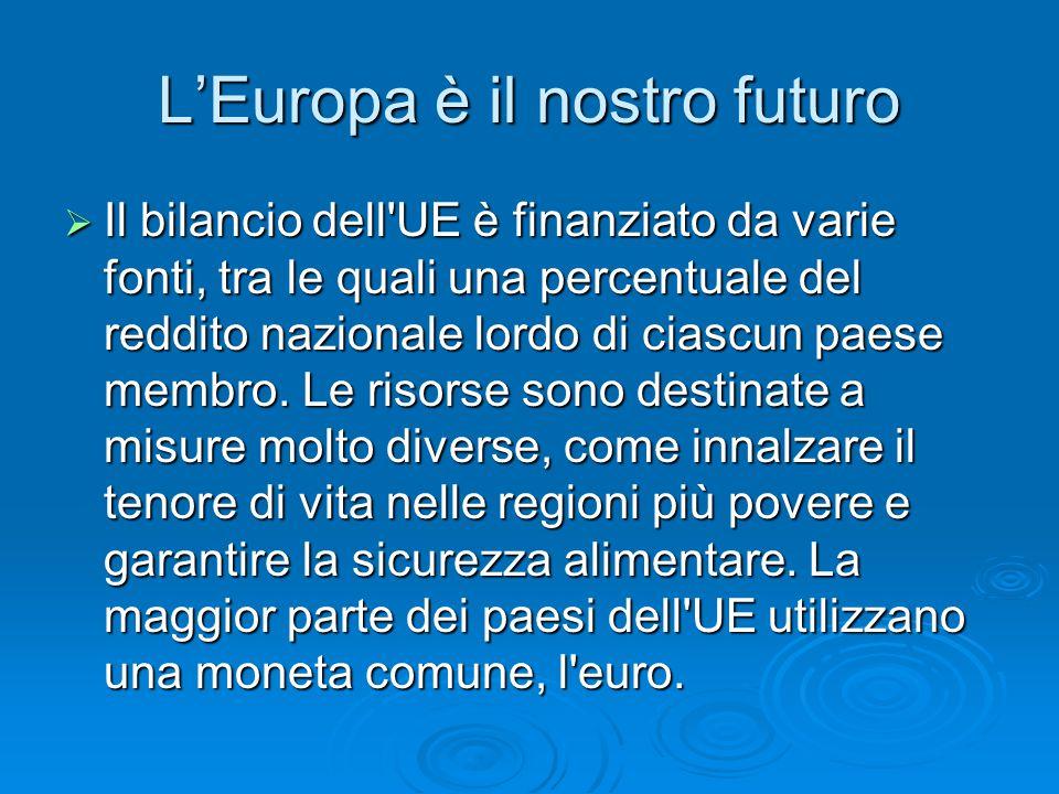 L'Europa è il nostro futuro  Il bilancio dell UE è finanziato da varie fonti, tra le quali una percentuale del reddito nazionale lordo di ciascun paese membro.