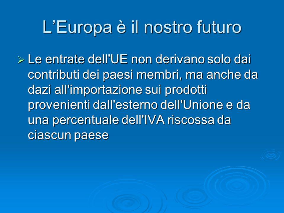 L'Europa è il nostro futuro  Le entrate dell UE non derivano solo dai contributi dei paesi membri, ma anche da dazi all importazione sui prodotti provenienti dall esterno dell Unione e da una percentuale dell IVA riscossa da ciascun paese