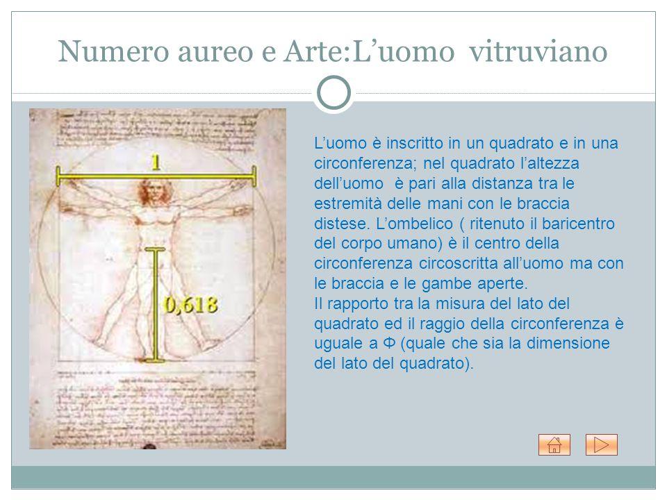 Numero aureo e Arte:L'uomo vitruviano L'uomo è inscritto in un quadrato e in una circonferenza; nel quadrato l'altezza dell'uomo è pari alla distanza tra le estremità delle mani con le braccia distese.