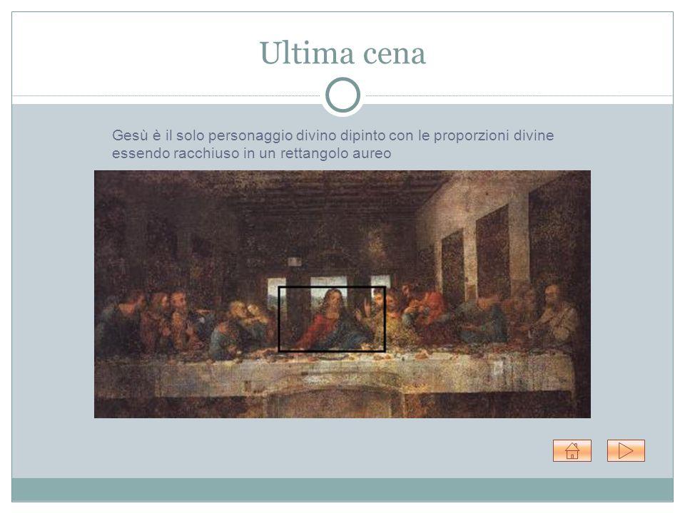 Ultima cena Gesù è il solo personaggio divino dipinto con le proporzioni divine essendo racchiuso in un rettangolo aureo