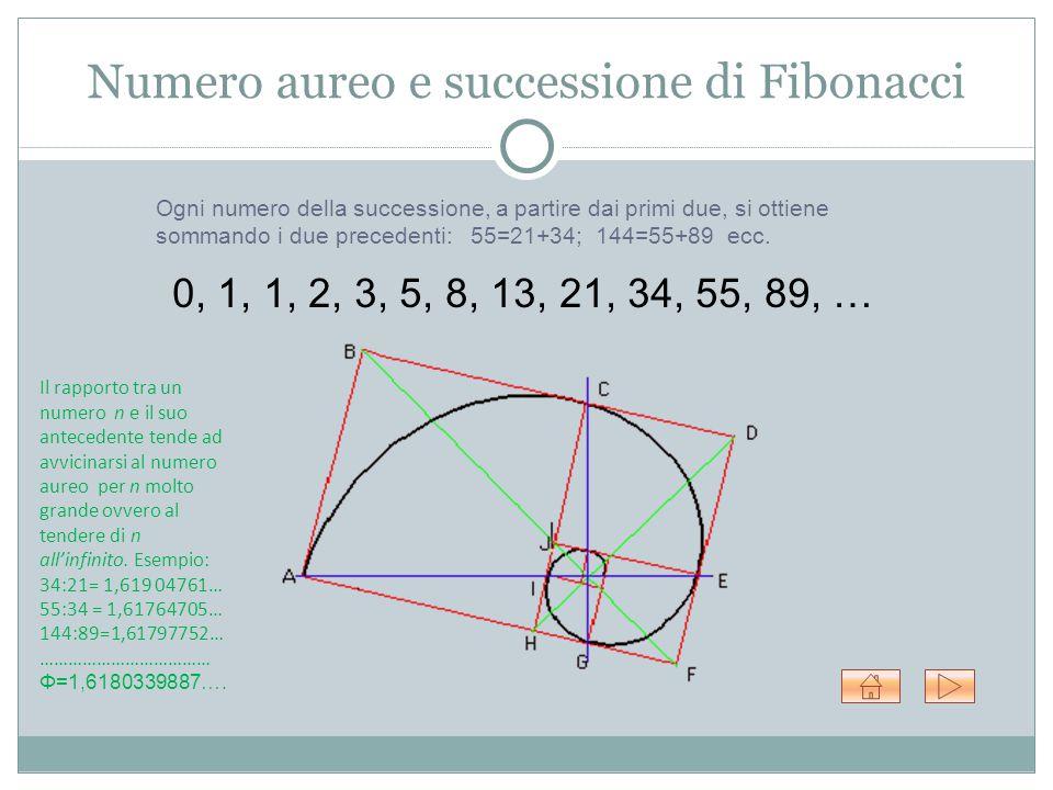 Numero aureo e successione di Fibonacci 0, 1, 1, 2, 3, 5, 8, 13, 21, 34, 55, 89, … Ogni numero della successione, a partire dai primi due, si ottiene sommando i due precedenti: 55=21+34; 144=55+89 ecc.