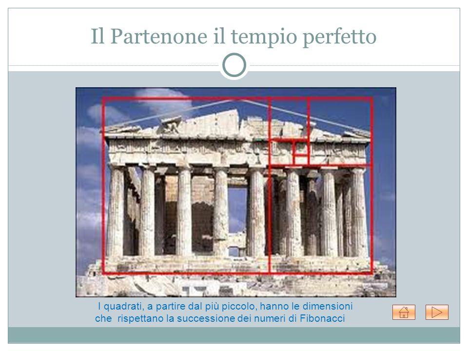 Il Partenone il tempio perfetto I quadrati, a partire dal più piccolo, hanno le dimensioni che rispettano la successione dei numeri di Fibonacci