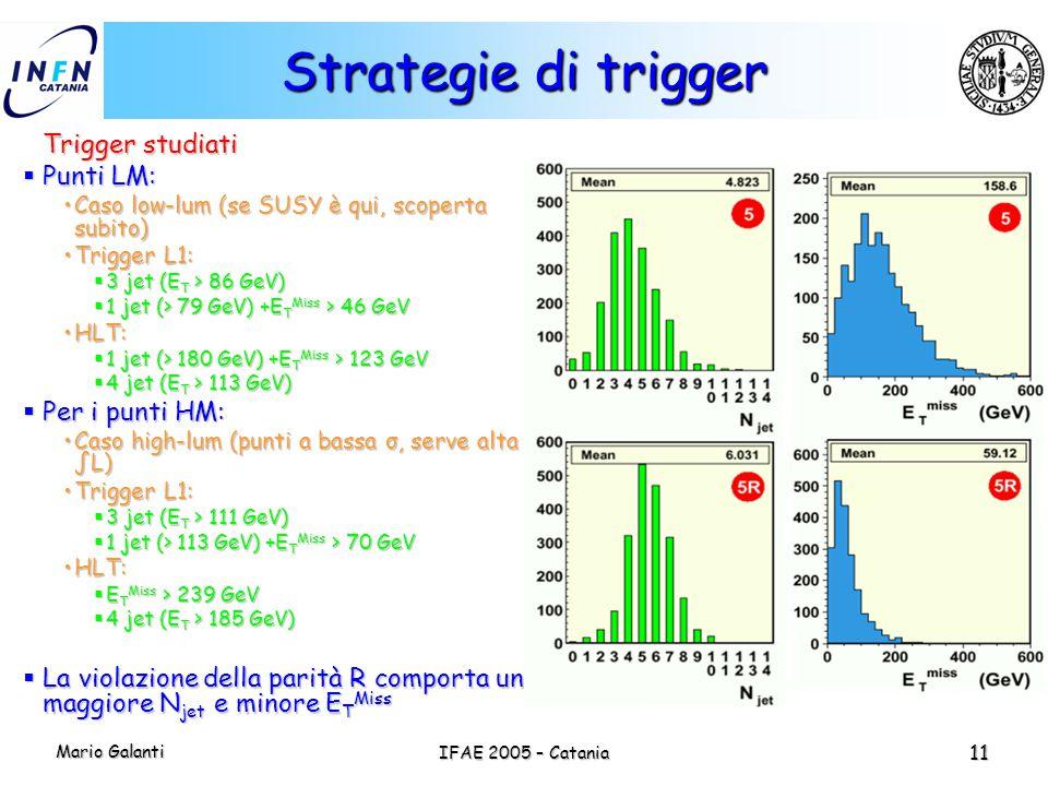 Mario Galanti IFAE 2005 – Catania 11 Strategie di trigger Trigger studiati  Punti LM: Caso low-lum (se SUSY è qui, scoperta subito)Caso low-lum (se S