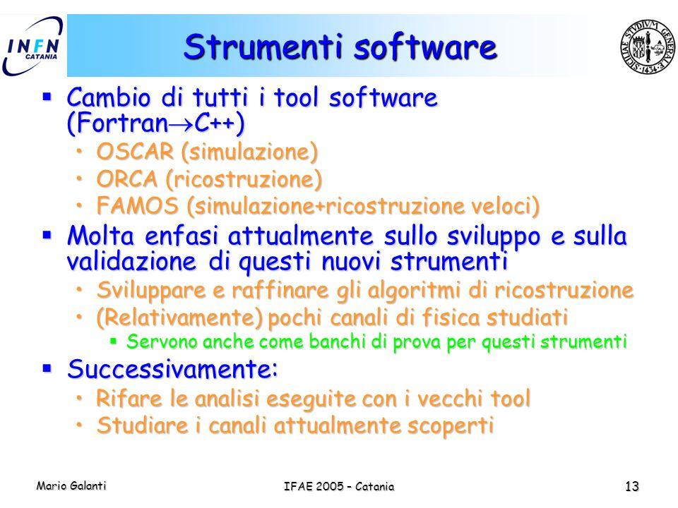 Mario Galanti IFAE 2005 – Catania 13 Strumenti software  Cambio di tutti i tool software (Fortran  C++) OSCAR (simulazione)OSCAR (simulazione) ORCA
