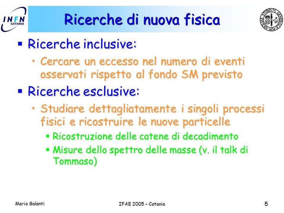 Mario Galanti IFAE 2005 – Catania 5 Ricerche di nuova fisica  Ricerche inclusive: Cercare un eccesso nel numero di eventi osservati rispetto al fondo