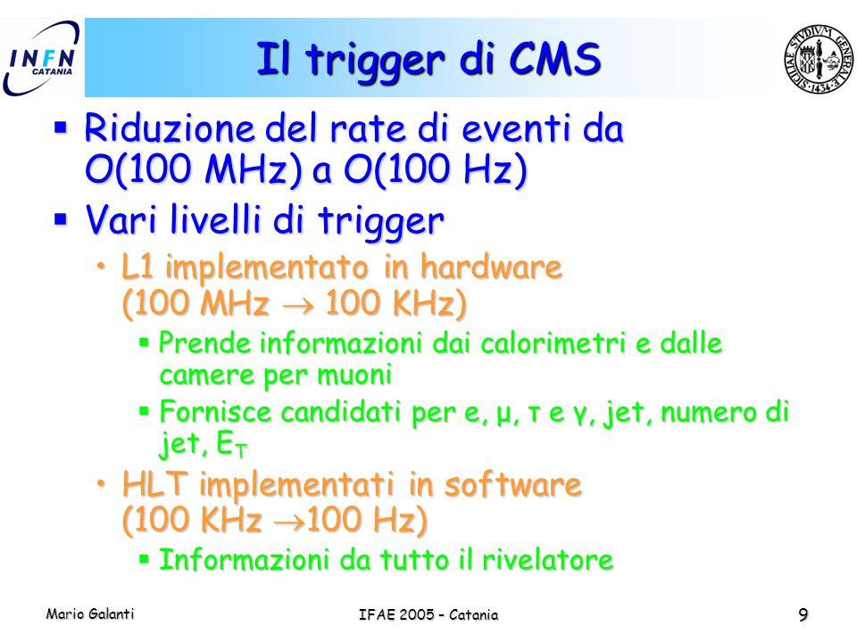 Mario Galanti IFAE 2005 – Catania 9 Il trigger di CMS  Riduzione del rate di eventi da O(100 MHz) a O(100 Hz)  Vari livelli di trigger L1 implementa