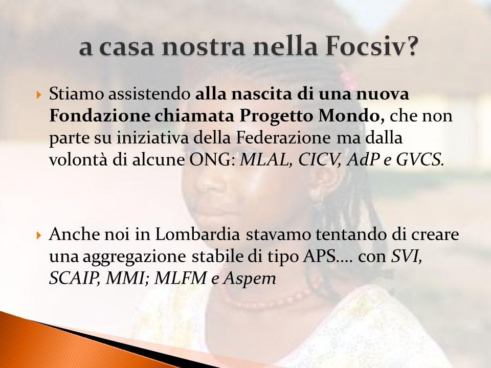  Stiamo assistendo alla nascita di una nuova Fondazione chiamata Progetto Mondo, che non parte su iniziativa della Federazione ma dalla volontà di alcune ONG: MLAL, CICV, AdP e GVCS.