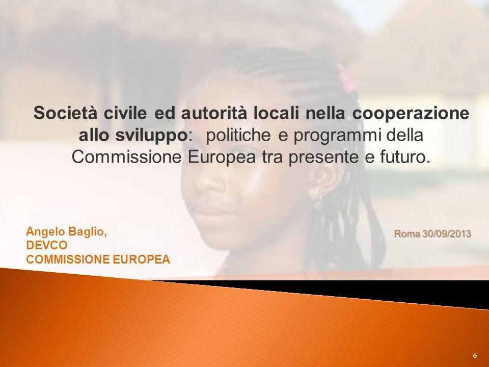 Società civile ed autorità locali nella cooperazione allo sviluppo: politiche e programmi della Commissione Europea tra presente e futuro.