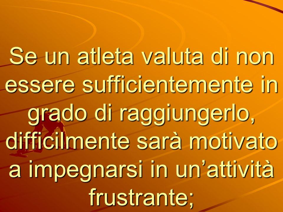 Se un atleta valuta di non essere sufficientemente in grado di raggiungerlo, difficilmente sarà motivato a impegnarsi in un'attività frustrante;
