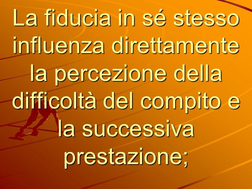 La fiducia in sé stesso influenza direttamente la percezione della difficoltà del compito e la successiva prestazione;
