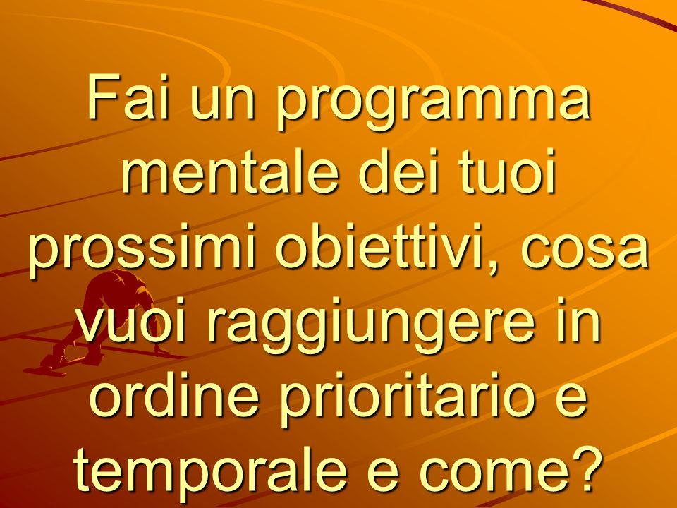 Fai un programma mentale dei tuoi prossimi obiettivi, cosa vuoi raggiungere in ordine prioritario e temporale e come?