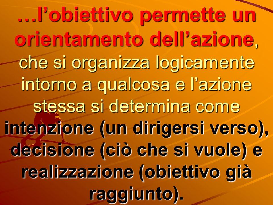 …l'obiettivo permette un orientamento dell'azione, che si organizza logicamente intorno a qualcosa e l'azione stessa si determina come intenzione (un