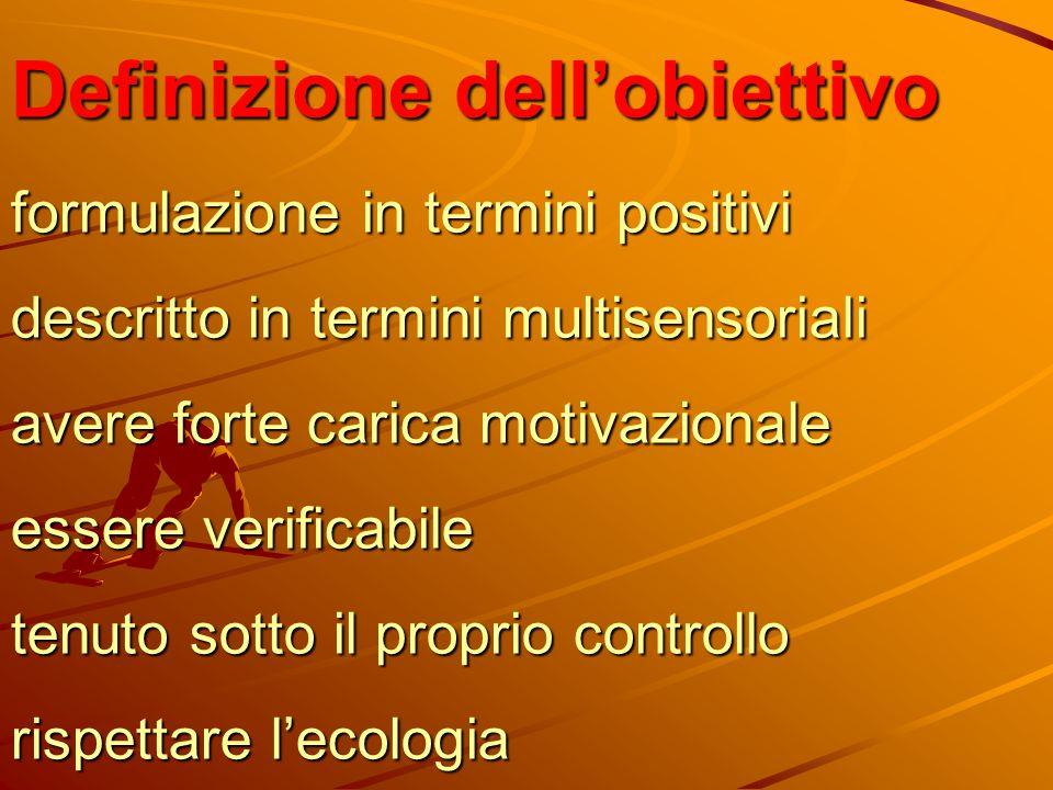 Definizione dell'obiettivo formulazione in termini positivi descritto in termini multisensoriali avere forte carica motivazionale essere verificabile
