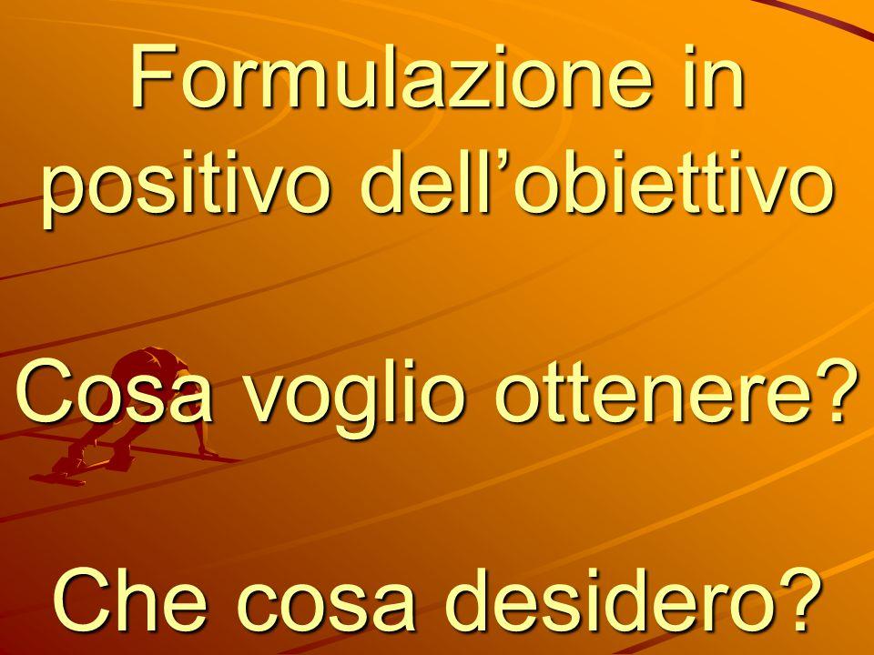 Formulazione in positivo dell'obiettivo Cosa voglio ottenere? Che cosa desidero?
